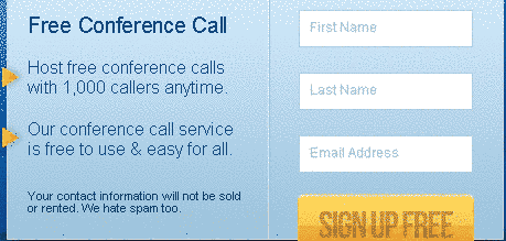 free conference calling sign form