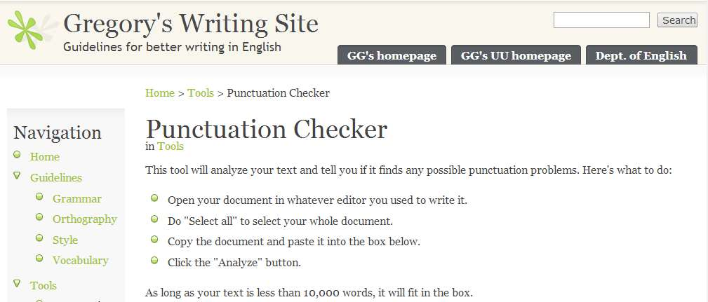 Garreston Punctuation Checker - Free Punctuation Checker