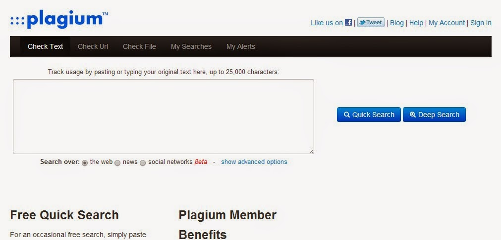 Plagium -  Duplicate Content Checkers That Are Fast and Brilliant